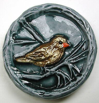 """Handcrafted Art Stone Button Perched Bird Scene FREE US SHIPPING 1 & 1/8"""""""