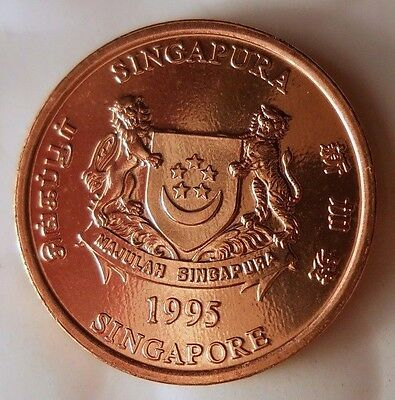 1995 SINGAPORE CENT - AU/UNC - From Original Bank Roll - FREE Ship - EEE