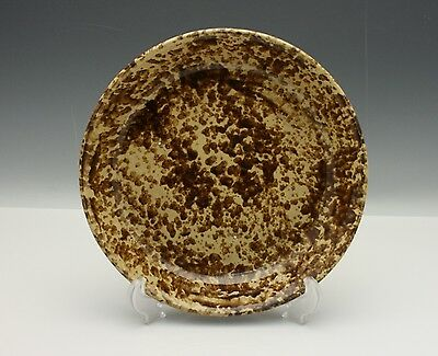 Early American Country Pottery Spongeware Spatterware Pie Plate 19th Century