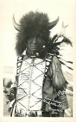 c1930s Sioux Indian in Black Hills, SD- Native American Real Photo Postcard/RPPC