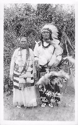 c1930s Sioux Chief Little Scout & Wife- Native American Real Photo Postcard/RPPC