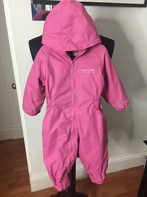 Regatta Girls Kids Pink Outdoor Suit Overall Waterproof Baby Snow 12-18m All In1