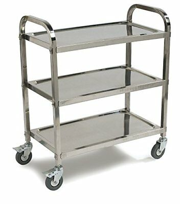 Carlisle 3 Shelf Knockdown Stainless Steel Utility / Service Cart, 400 Pound