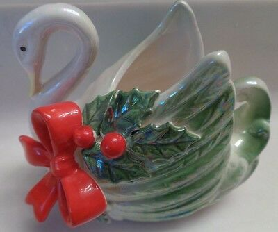 SWAN trinket knick knack vintage Japan XA-44A porcelain Christmas red bow holly