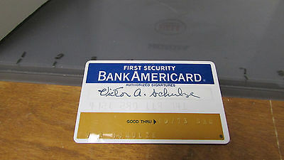 Vintage 1973  Credit Card FIRST SECURITY BANK AMERICARD   FREE SHIPPING