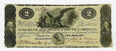 1862 $2 The Bank of the State of SOUTH CAROLINA Note - CIVIL WAR Era