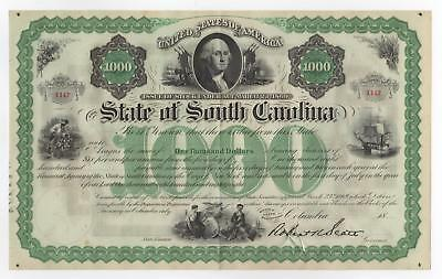 1800's $1000 The State of SOUTH CAROLINA Bond