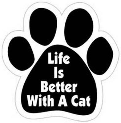 "Life Is Better With A Cat Paw Car Fridge 5.5"" Plastic Magnet Kitten Gift"
