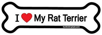 "I Love My Rat Terrier Dog Bone Car Fridge Plastic Magnet Large 2"" X 7"""