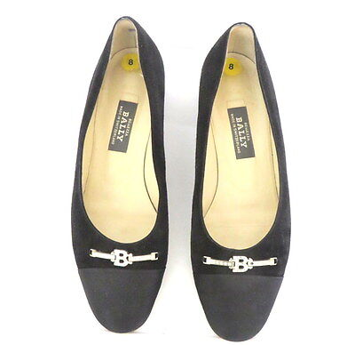 BALLY Women's Embellished Black Suede Leather Flats Shoes Size 8M