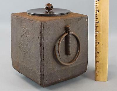 Antique Japanese Tea Ceremony, Cast Iron Hot Water Kama Kettle w/ Bronze Cover