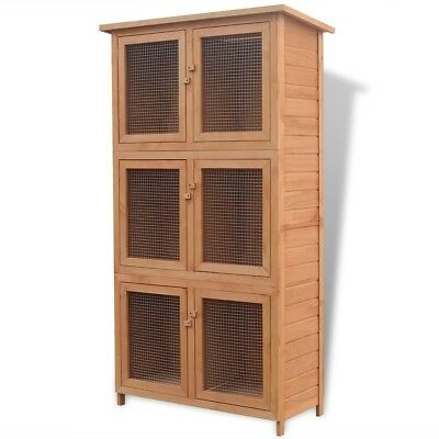 Rabbit Guinea Cage Hutch 6 Rooms Chicken Hen House Wood Iron Wire Mesh Yard