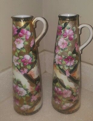 VTG Nippon Pitcher Hand Painted pink Floral Vase Beaded Gold black LOT OF 2