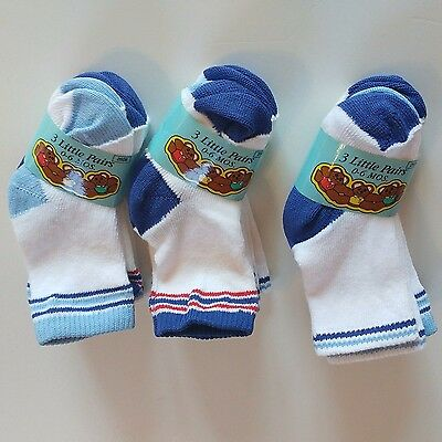 BABY SOCKS - Newborn Infant Baby Boy Size 0-6 Months 9 Pair Lot, 3 COLORS NWT