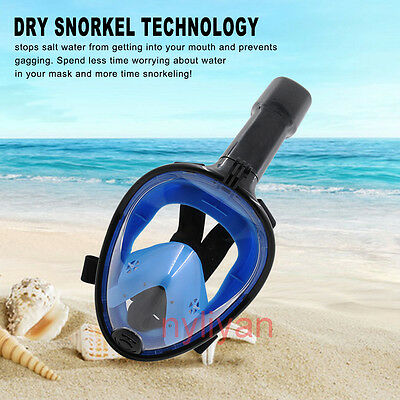 US 180° View Full Face Snorkel Mask Swimming Diving Anti-Fog Scuba for GoPro S
