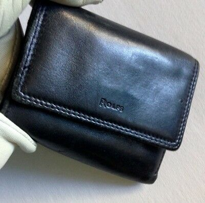 ROLFS Women's Black Leather Trifold Mini Wallet / Pocketbook w/Coin Purse