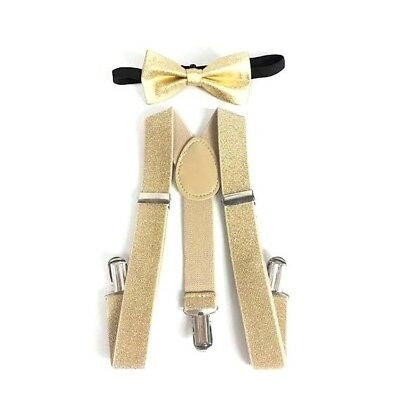 New Metallic Gold Suspender Bow Tie Matching Baby Toddler Kids Boys Girls Child