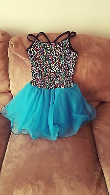 Multi color Sequin Front Dance costume, tulle skirt Girls size LC Teal Black