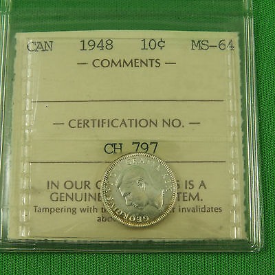 Canada 1948 Silver Dime 10 Cents Graded ICCS MS64 Soft Slab