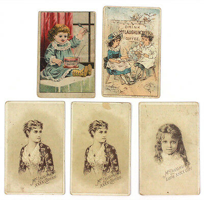 1880's McLaughlin's Coffee 5 Trade Cards