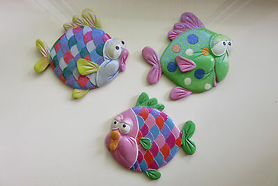 3 Fish Wall Plaques Child`s Room Bathroom Resin Fishes Nautical Decor