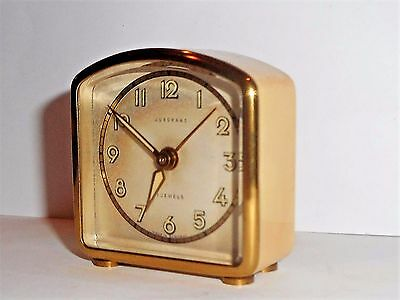 VINTAGE JUNGHANS MINIATURE DESK BOUDOIR ALARM CLOCK in WORKING CONDITION 7 JEWEL