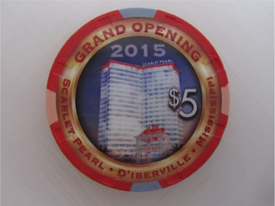 $5 SCARLET PEARL CASINO RESORT D'Iberville MS Poker GRAND OPENING Gaming Chip