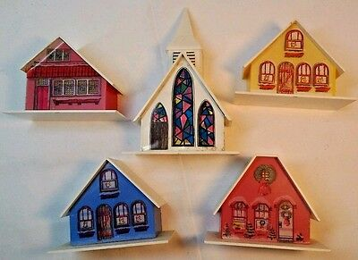 White Church & 4 Alpine Village Plastic Houses light slots  Clean Replacements