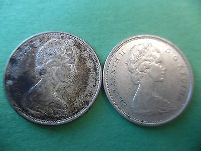 (2) Different Canadian 50 Cent 1965 and 1966 .800 Silver Nice K546