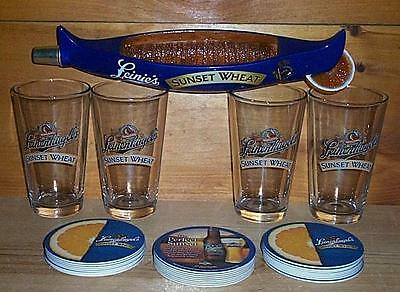 Leinenkugels Sunset Wheat Tap Handle 4 Beer Pint Glasses 30 Coasters New