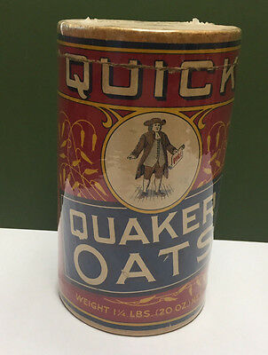 Rare 1900's Original Quick Quaker Oats Box Container 1 lb-4oz Box Ex. Condition