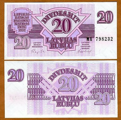 Latvia, 20 Rubli, 1992, P-39, Scarce in UNC >> First Ex-USSR
