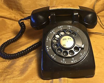 Untested 1960s Western Electric Black Rotary Phone CD 500 TV / Film Prop House