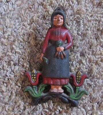 Vintage Wilton Hand Painted Cast Iron Amish Woman Paper Clip