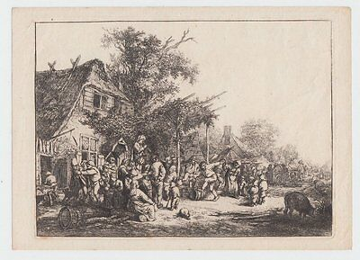 Radierung um 1652 The dance under the trellis Adriaen van Ostade