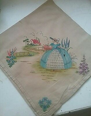 vintage hand painted linen tablecloth