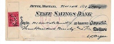 1898  Butte Montana   State Savings Bank   With Clean Stamp