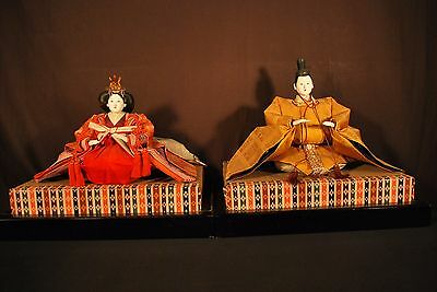 LARGE JAPANESE GIRLS DAY EMPEROR & EMPRESS NINGYO DOLLS / w Wood & Straw Stands