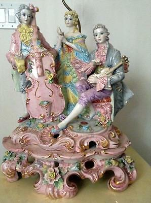 Signed BENROSE Italian  French Inspired Lamp  Romantic Figural Group Capodimonte