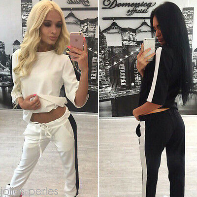 New Summer Autumn Casual Women Sports Full Tracksuit Middle Sleeve Long Pants