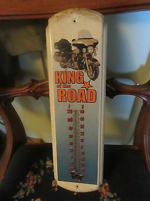 Vintage KING OF THE ROAD MOTORCYCLE  Advertising Thermometer Sign WORKS