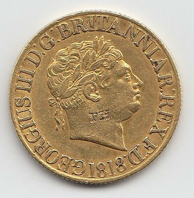 Rare 1818 George III Gold Sovereign - Great Britain