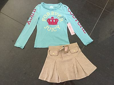 NWT Juicy Couture New & Gen. Gold Cotton Skirt & Green T-Shirt Set Girls Age 8