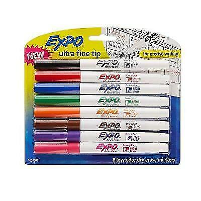 EXPO Low-Odor Dry Erase Markers, Ultra Fine Tip, Assorted Colors, 8-Count New