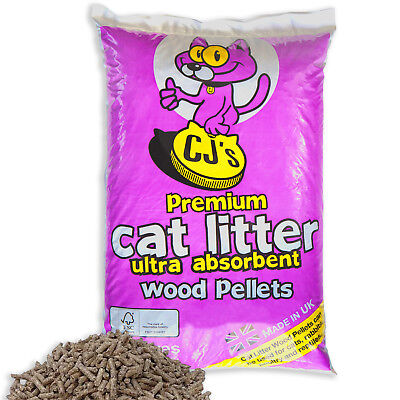 CJs 100% Natural Wood Based Cat Kitten Litter Pellets Poultry Rabbits Reptiles