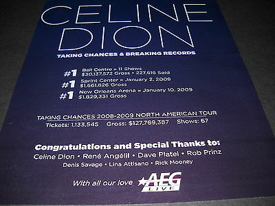 CELINE DION Taking Chances & Breaking Records 2009 PROMO PRINT DISPLAY AD