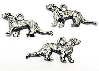 3 Pewter Ferret Charms - 0305