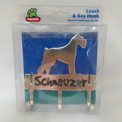New Schnauzer Puppy Dog Silver Metal Leash Key 3 Hook Holder Hanger Top Paw