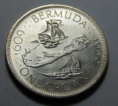 1959 Bermuda Sterling Silver Crown Coin - 300th Anniversary - .8409 Troy Oz ASW