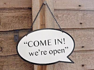 Two Sided Open & Closed Sign Speech Bubble With Metal Chain Shop Door Retail